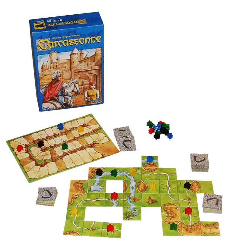 Image showing the game components of Carcassonne