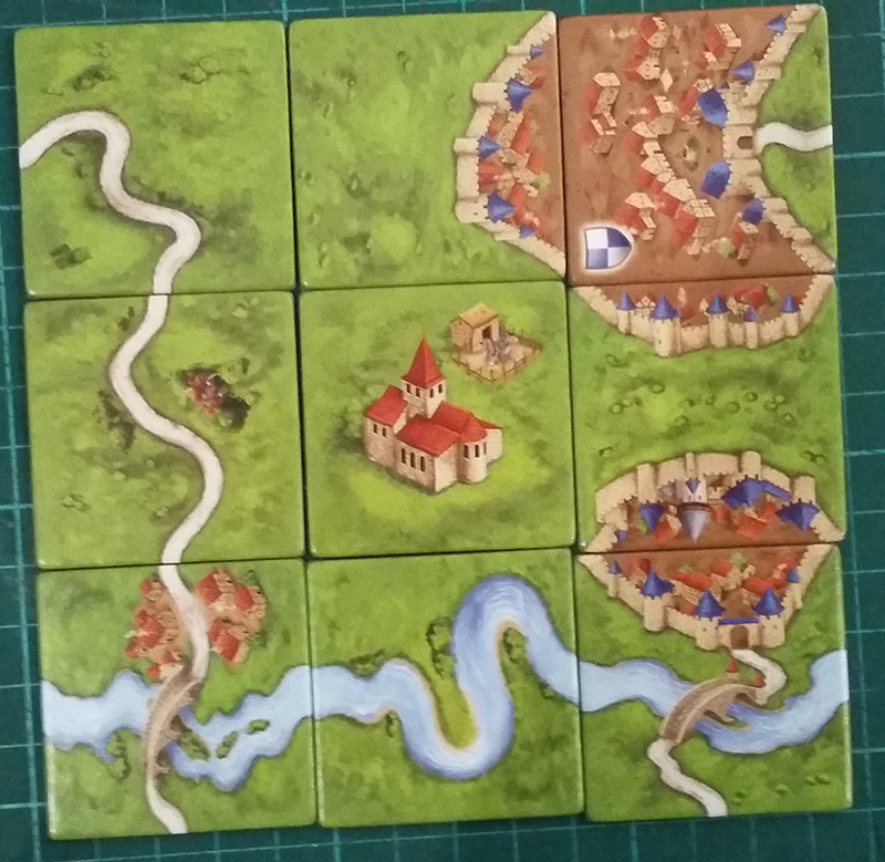 Image showing the various tile features. From top left to bottom right: road; city; city with road; road; monastery; city; road and river; river; city, road, and river.