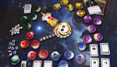 Image showing the game components of Cosmic Encounter