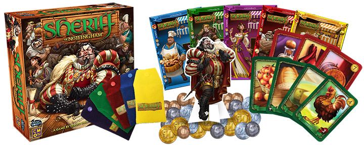 Image shows the game components of Sheriff of Nottingham